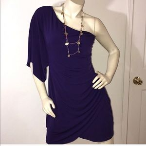 Like New Royal Purple One Shoulder Mini Dress